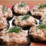 Закуска из баклажан. Круглонарезанные баклажаны с орехами